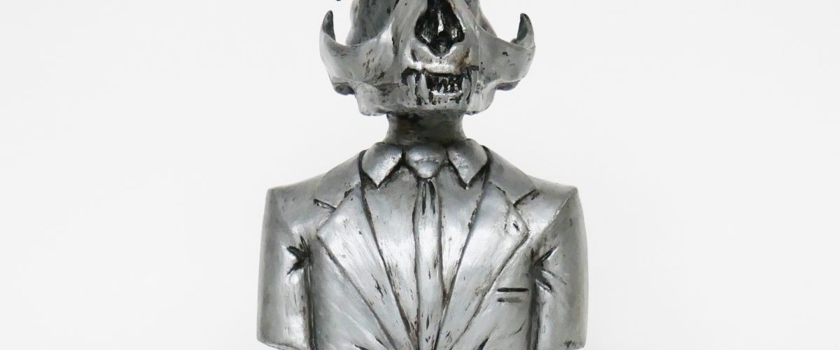 Cat Skull sculpture   zilver
